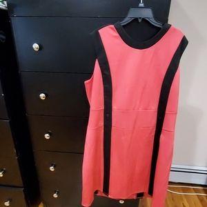 Pink and black Midi dress